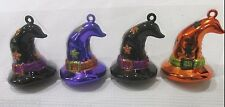 Halloween Glitter Witch Hat Tree Ornaments Decorations Set of 4