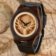Xmas Bamboo Nature Wood Women Men Quartz Wrist Watch Men Deer Head Leather Band