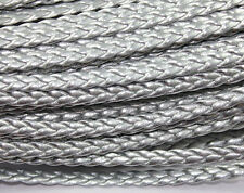 100m 5mm Silver Flat Faux Braid Leather Cord Bracelet Cord DIY Accessory Cord