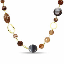 Amour  Sterling Silver Multi-colored Agate 26-inch Fashion Necklace