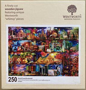 """WENTWORTH """"World Travel Bookshelf"""" Aimee Stewart 250 piece Wooden JIGSAW PUZZLE"""