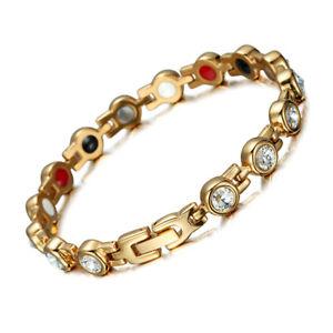 Women Ladies Gold Titanium Steel Clear Zircon Magnetic Therapy Chain Bracelet