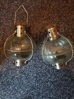 2 Vintage Glass Tea Light Onion Lanterns