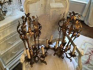 Pair Tole Sconces  vtg antique Cage Style Lamp  Italian french shabby style