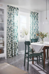Ikea ALPKLOVER Cotton Curtains 145x250cm ✅ Beige Green Leaves
