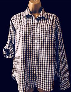 Ladies Barbour Check Shirt White Peak Uk 16 Roll Tab Sleeve Pockets