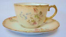 Limoge France French Tea cup Saucer  Porcelain Vintage China  Blush flowers