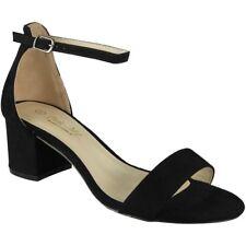 Womens Mid Heel Shoes Ladies Suede Ankle Strap Buckle Work Summer Sandals Size UK 5 / EU 38 / US 7 Black