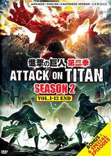 DVD Anime Attack On Titan Season 2 (1-12 End) + 6 Special Bonus English Audio