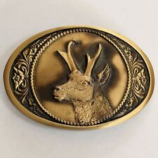 Vintage Elk Bronze Belt Buckle 1984 by High Mesa