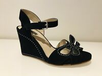 MARC JACOBS SHOES SANDALS WEDGE STUDDED HEEL BLACK SUEDE LEATHER £520 UK3/36 NEW