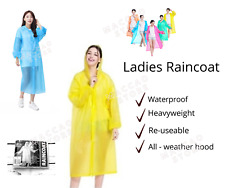 Womens Ladies Raincoat Waterproof Poncho Reuseable Rain Coat with Hood