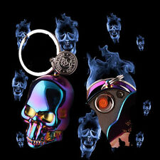 Windproof  Skull Electric Rechargeable Flameless USB Cigarette Lighter Keychain