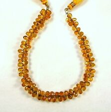 """MADEIRA CITRINE faceted drop briolette beads AAA+ 5-6mm 9"""" strand"""