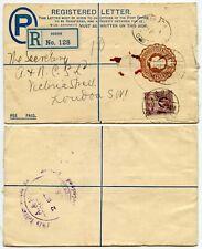 GOLD COAST ADA ADDAH REGISTERED STATIONERY ENVELOPE KG5 UPRATED 1929
