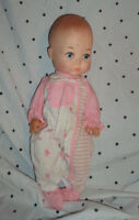 """EeGee Vintage Baby Doll Soft Plastic Body 14"""" Pink White Outfit"""