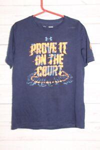 Under Armour Boys Shirt Navy Blue Orange Short Sleeve Size Medium
