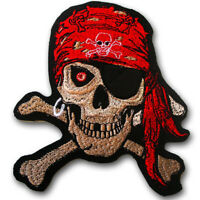 M Size Pirate Skull Crossbones Patch Iron on Embroidered Harley Grim Reaper
