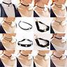 Retro Gothic Black Velvet  Choker Collar Lace Flower Charm Necklace Pendant Gift