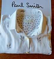 PAUL SMITH Shirt,100% Cotton,White with Spots & Floral Design,Size 44,Top Pocket