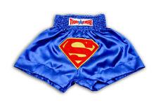 Superman Muay Thai Shorts Mma Men Kids Kick Boxing Grappling Satin Pants Gym