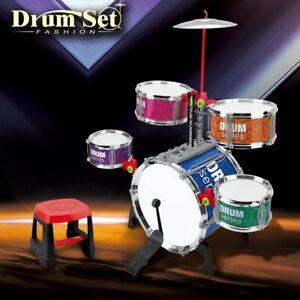 Kids Toddlers Gift Jazz Drum Set Musical Playset Toy W/Microphone & Drum Sticks