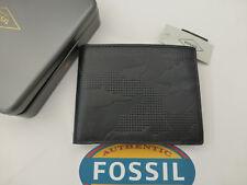 Fossil protegido RFID Tri-Fold Wallet Andover Negro Cuero Billeteras En Estaño RP £ 45