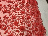 Embroidered Lace Red Mesh Fabric 3D Flower-Floral Wedding Dress 1/2 Yard