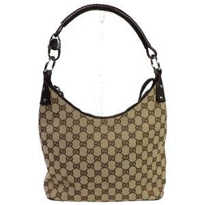 GUCCI GG Logo Pattern Hobo Shoulder Bag Canvas Leather BN Silver Italy 31BU467