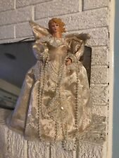 """Angel Christmas Tree Topper 12"""" Ivory Cream Dress  Gold Wings Pearls"""