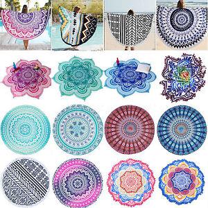 Bohemian Mandala Round Beach Tapestry Hippies Throw Yoga Mat Floral Indian