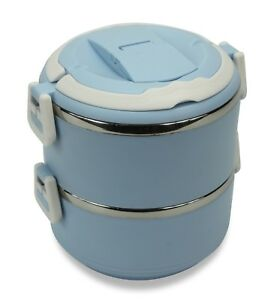 Colourful round Bento Box Lunch Box Double layer; Choice of Colours. Moshi Moshi