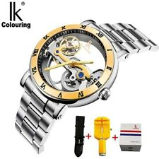 IK Men Automatic Mechanical Watches Luxury Stainless Steel Skeleton WristWatch