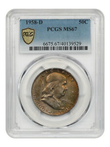 1958-D 50c PCGS MS67 - Colorful Toning - Franklin Half Dollar - Colorful Toning