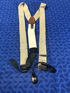Trafalgar Suspenders Men's Braces Beige & Cream Color Good Condition