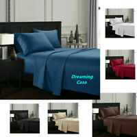 Egyptian Comfort 4 Piece Deep Pocket 1800 Count Bed Sheet Set King Queen Size H9
