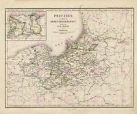 Map Antique 1858 Toepenn Prussia Teutonic Order Replica Canvas Art Print