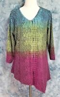 Parsley & Sage Womens sz L Purple Green Blue Long Sleeve Asymmetric Tunic Top