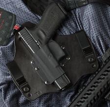 Left hand Leather Kydex Hybrid Gun Holster IWB Tuck for Glock 17 19 22 23 31 32
