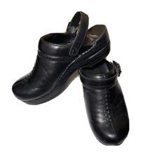 Dansko Women's 39 / 8.5 Black Leather Stitching Open Back Clogs Ankle Strap