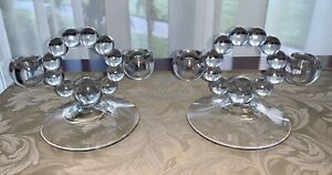 Vintage Mid-Century / Art Deco Moderne Imperial Candlewick Candlestick Holders