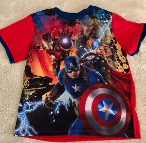 Avengers Boys Blue Red Captain America Iron Man Thor Short Sleeve Pajama Shirt 6