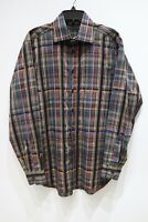 ETRO SPA long sleeve button up plaid cotton shirt made in ITALY men's size 41