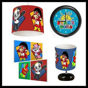 RYANS WORLD - Kids Bedroom - Lightshade, Lamp, Clock, Canvas Prints