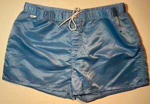 Vintage SUNDEK Men's Swim Trunks Blue 40 USA Nylon Back Pocket Striped RARE