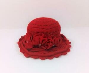 RED FELT HAT PINCUSHION Black Top Stitching Felt Flowers Padded Top