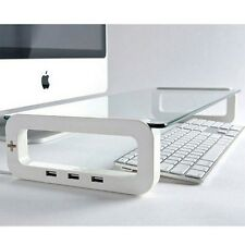 Monitor Laptop Stand Table USB Hub Cup Phone Holder White Glass top Rubber Feet