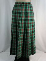 Pendleton Women's LARGE 14 Vintage Red Green Tartan 100% Wool Pleated Skirt