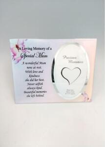 Mum Glass Memorial Photo Frame - Freestanding Remembrance Keepsake Gift Present