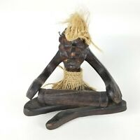 Vintage Hand Carved Wood  Aztec Man Playing Instrument Tribal Folk Art African